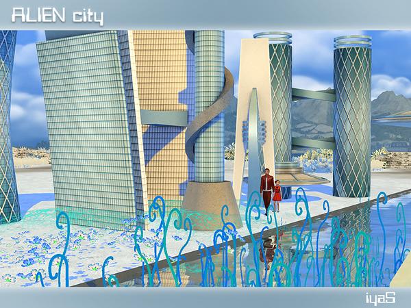 Sims 4 Alien City by soloriya at TSR