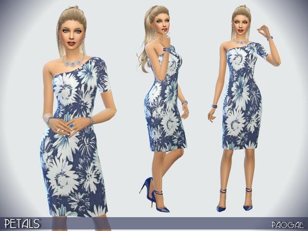 Sims 4 Petals dress by Paogae at TSR
