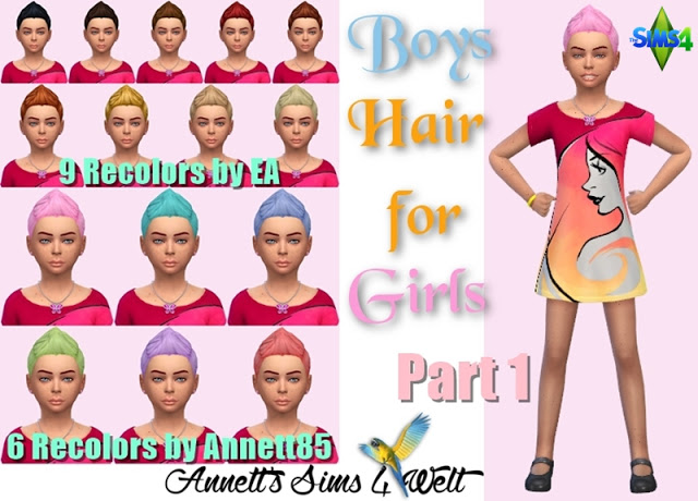 Boys Hair for Girls Part 1 at Annett's Sims 4 Welt image 809 Sims 4 Updates