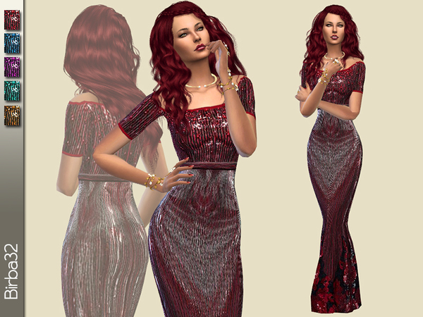 Sims 4 Roses Dress by Birba32 at TSR