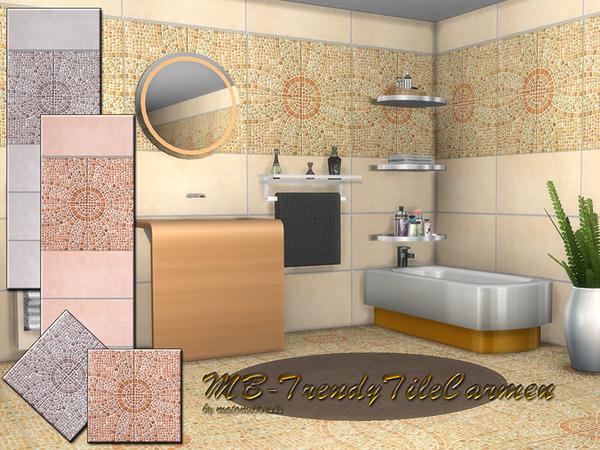 Sims 4 Trendy Tile Carmen SET by matomibotaki at TSR