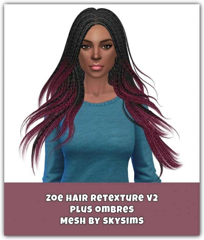 Sims 4 Zoe Hair Retexture V2 plus ombres at Maimouth Sims4