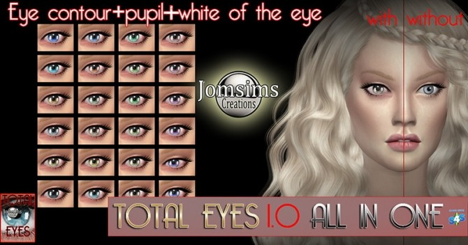 Sims 4 Total eyes 1.0 all in one at Jomsims Creations
