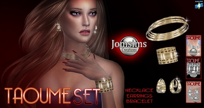 Sims 4 Taoume set necklace, earrings, bracelet at Jomsims Creations