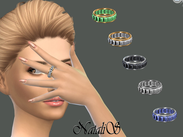 Baguette crystals ring by NataliS at TSR image 96 Sims 4 Updates