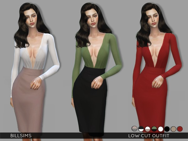 Low Cut Outfit by Bill Sims at TSR image 97 Sims 4 Updates