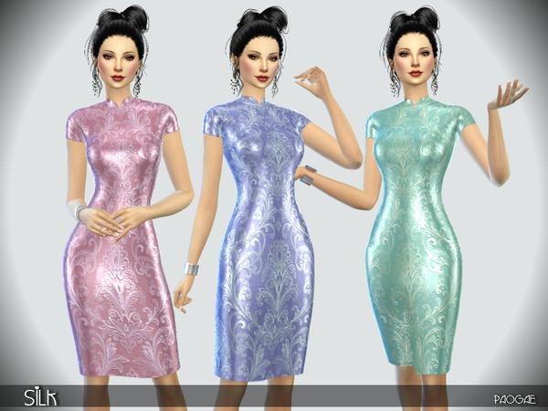 Sims 4 Silk dress by Paogae at TSR