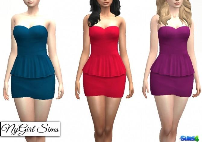 Sims 4 Strapless Peplum Mini Dress at NyGirl Sims
