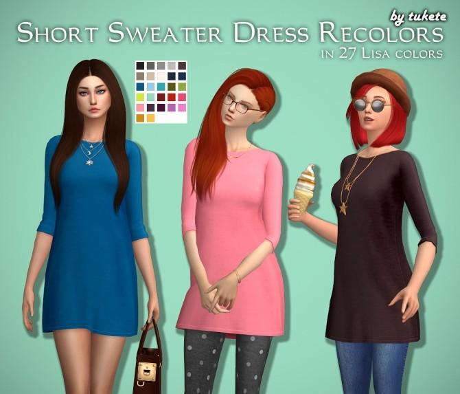 Sims 4 Short Sweater Dress Recolors at Tukete