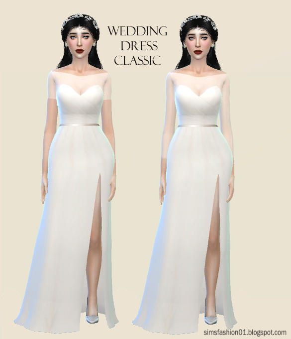Sims 4 Satin Wedding Dress at Sims Fashion01