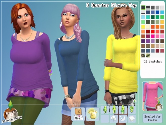 Sims 4 3 Quarter Sleeve Top by Standardheld at SimsWorkshop