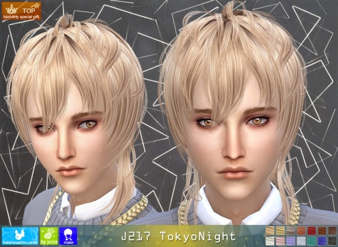 Sims 4 J217 TokioNight male hair (Pay) at Newsea Sims 4