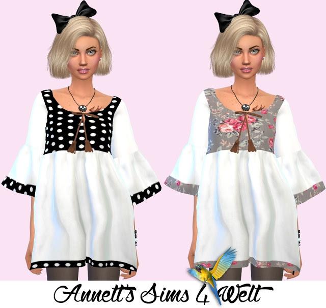 Sims 4 Marigolds Tassel Blouse Recolors at Annett's Sims 4 Welt