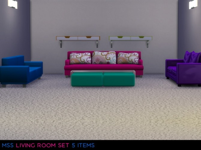 Sims 4 Livingroom Set by midnightskysims at SimsWorkshop