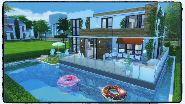 Newcrest modern house with pool build decoration at for Pool design sims 4