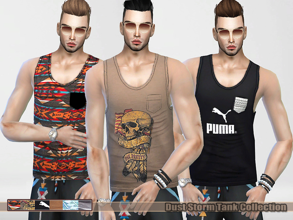 Sims 4 Dust Storm Tank Tops Collection (male) by Pinkzombiecupcakes at TSR
