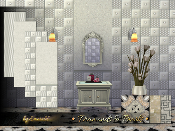 Diamonds & Pearls wall by emerald at TSR image 1640 Sims 4 Updates