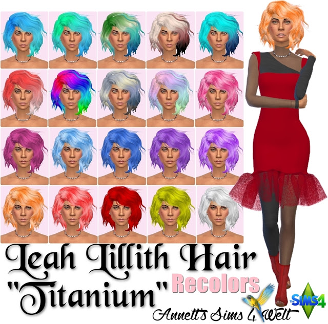 Leah Lillith Hair Titanium Recolors at Annett's Sims 4 Welt image 1649 Sims 4 Updates