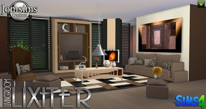 Lixiter livingroom at jomsims creations sims 4 updates for Living room designs sims 4