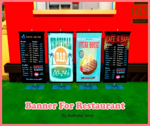 Sims 4 Banner for Restaurant at Nathalia Sims