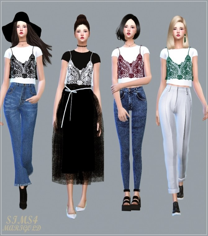 Sims 4 Lace Bustier With TShirt at Marigold