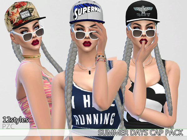 Sims 4 Summer Days Cap Pack by Pinkzombiecupcakes at TSR