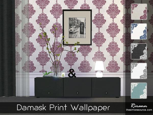 Sims 4 Damask Print Wallpaper by Rirann at TSR