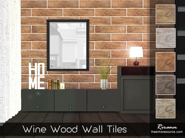 Sims 4 Wine Wood Wall Tiles by Rirann at TSR