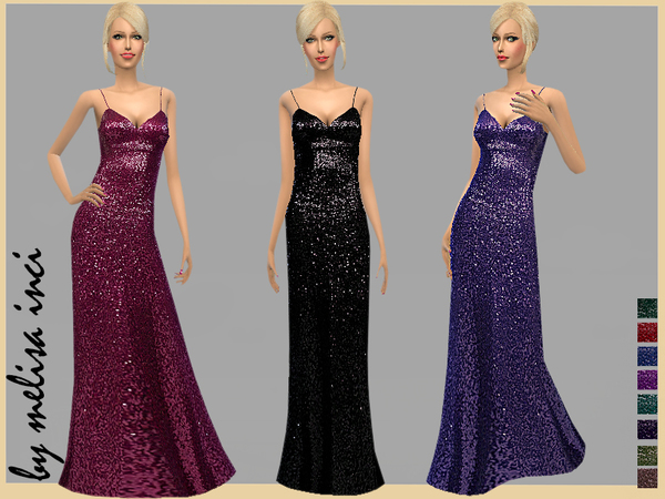 Sims 4 Sequin Gown by melisa inci at TSR