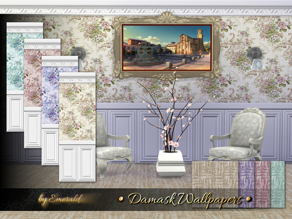 Sims 4 Damask Wallpapers by emerald at TSR
