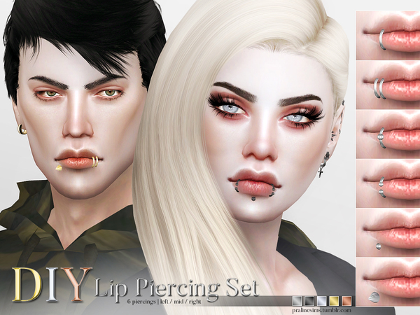 Sims 4 DIY Lip Piercing Set by Pralinesims at TSR