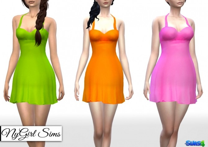 Sims 4 Flared Halter Cocktail Dress at NyGirl Sims