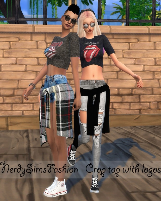 Sims 4 Tied shirt + Crop top with different logos at Lumy Sims