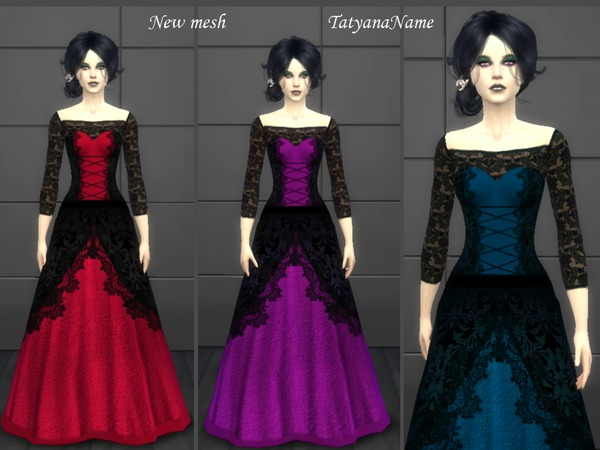 Vampire lace dress by TatyanaName at TSR image 282 Sims 4 Updates