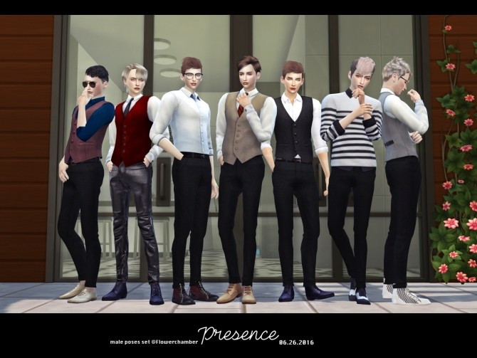 Sims 4 PRESENCE (Male) POSES SETS at Flower Chamber