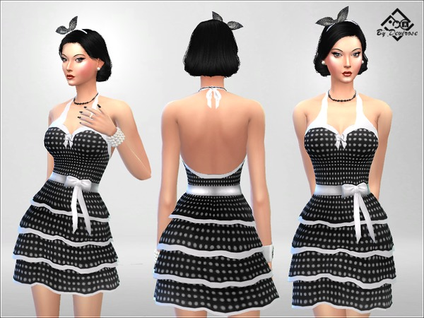 Sims 4 PolkaDot Dress by Devirose at TSR