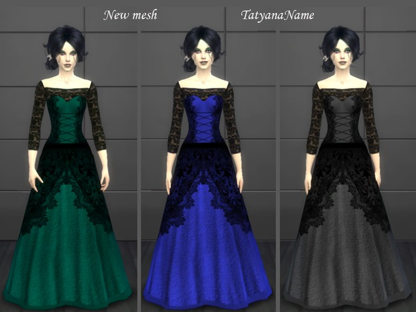 Vampire lace dress by TatyanaName at TSR image 302 Sims 4 Updates