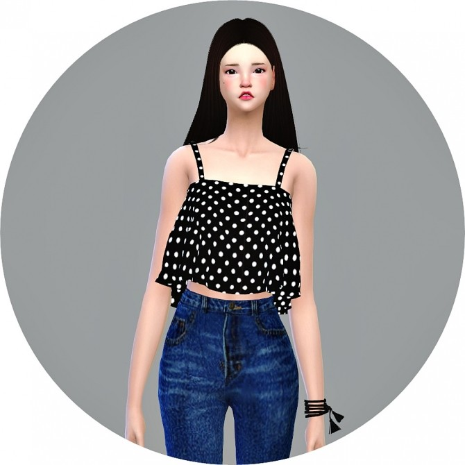 Sims 4 Ruffle Sleeveless Crop Top at Marigold