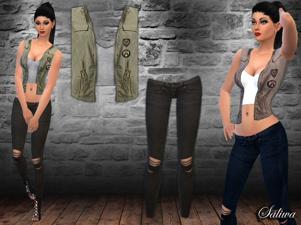 Sims 4 Military Vest Outfit by Saliwa at TSR