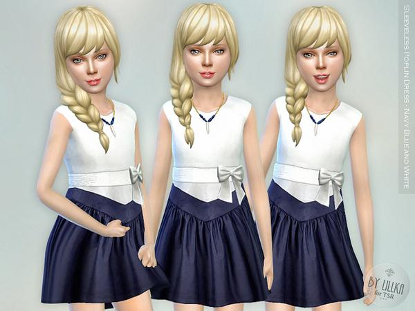 Sims 4 Sleeveless Poplin Dress Navy Blue and White by lillka at TSR