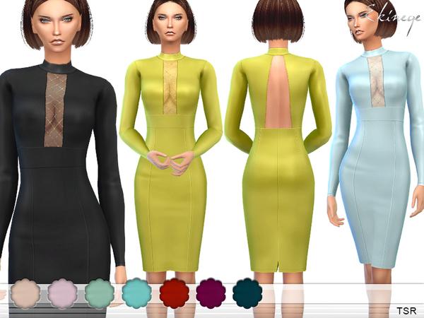 Mesh Insert Pencil Dress by ekinege at TSR image 3127 Sims 4 Updates