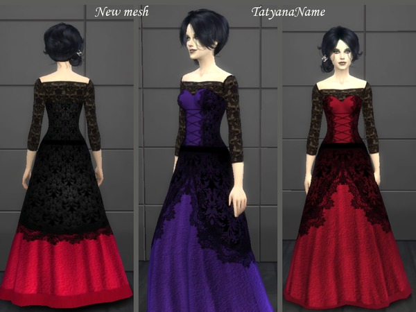 Vampire lace dress by TatyanaName at TSR image 313 Sims 4 Updates