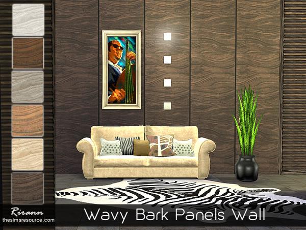 Wavy Bark Panels Wall by Rirann at TSR image 3135 Sims 4 Updates