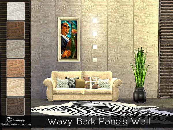 Wavy Bark Panels Wall by Rirann at TSR image 3226 Sims 4 Updates
