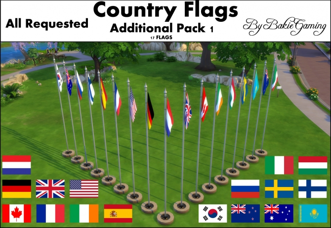 Animated Country Flagpoles Pack 1 By Bakie At Mod The Sims