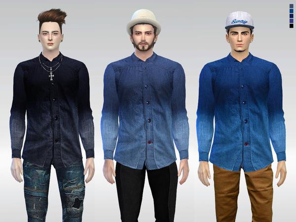 Sims 4 Dip Dye Mack Denim Shirt by McLayneSims at TSR