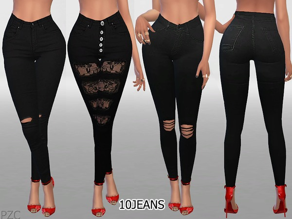 Sims 4 Skinny Ripped Black Jeans by Pinkzombiecupcakes at TSR
