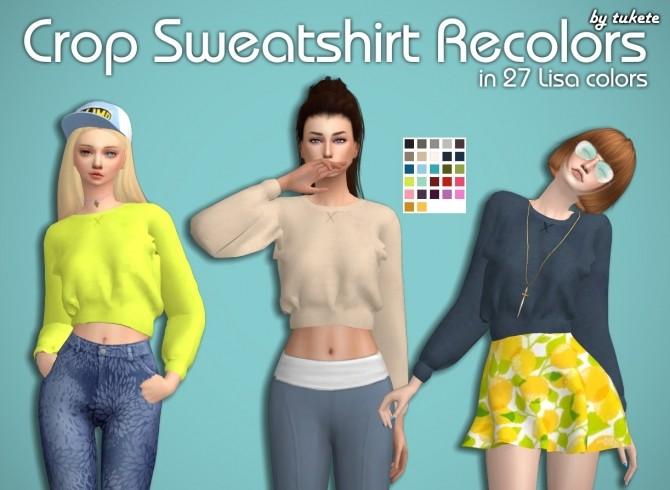 Sims 4 Crop Sweatshirt Recolors at Tukete