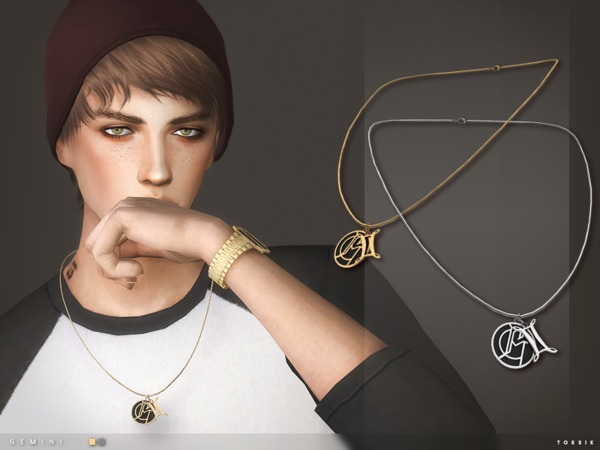 Sims 4 Gemini Necklace by toksik at TSR