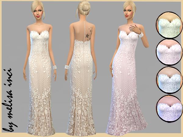 Sleeveless Lace Wedding Dress by melisa inci at TSR image 3619 Sims 4 Updates